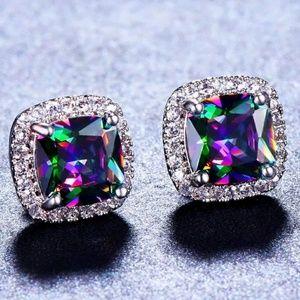 Rainbow Mystic Topaz Diamond Halo Stud Earrings